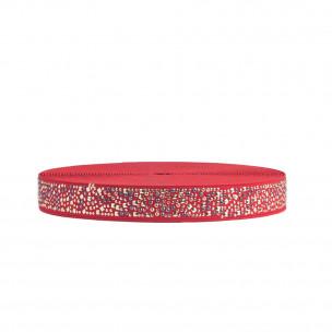 Резинка 2,5 см красная декоративная со стразами ER13