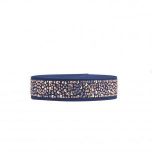 Резинка 2,5 см темно-синяя декоративная со стразами ER13